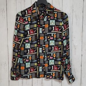 Vintage Nicole Miller Space themed silk blouse